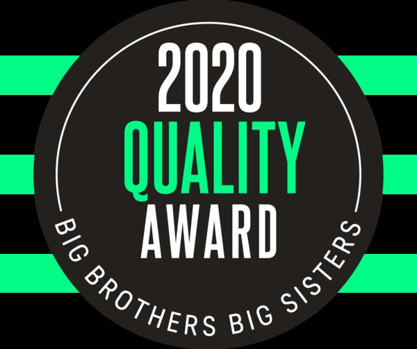 Green, black, and white logo stating 2020 Quality Award Big Brothers Big Sisters